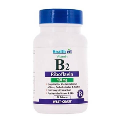 Healthvit Vitamin B2 Riboflavin (100 mg),  Unflavoured  60 tablet(s)