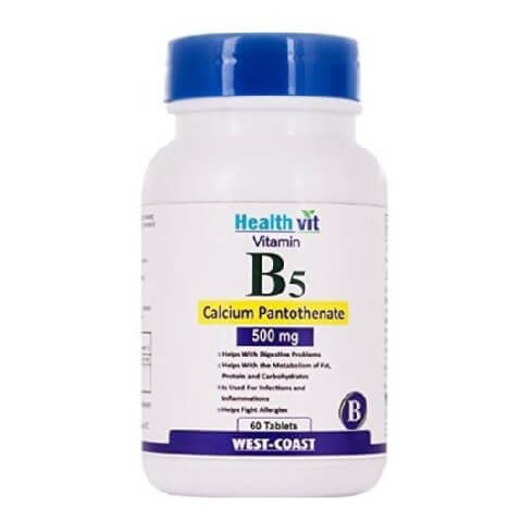 Healthvit Vitamin B5 Calcium Pantothenate (50 mg),  Unflavoured  60 tablet(s)