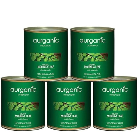 Aurganic Moringa Leaf, 100 g - Pack of 5