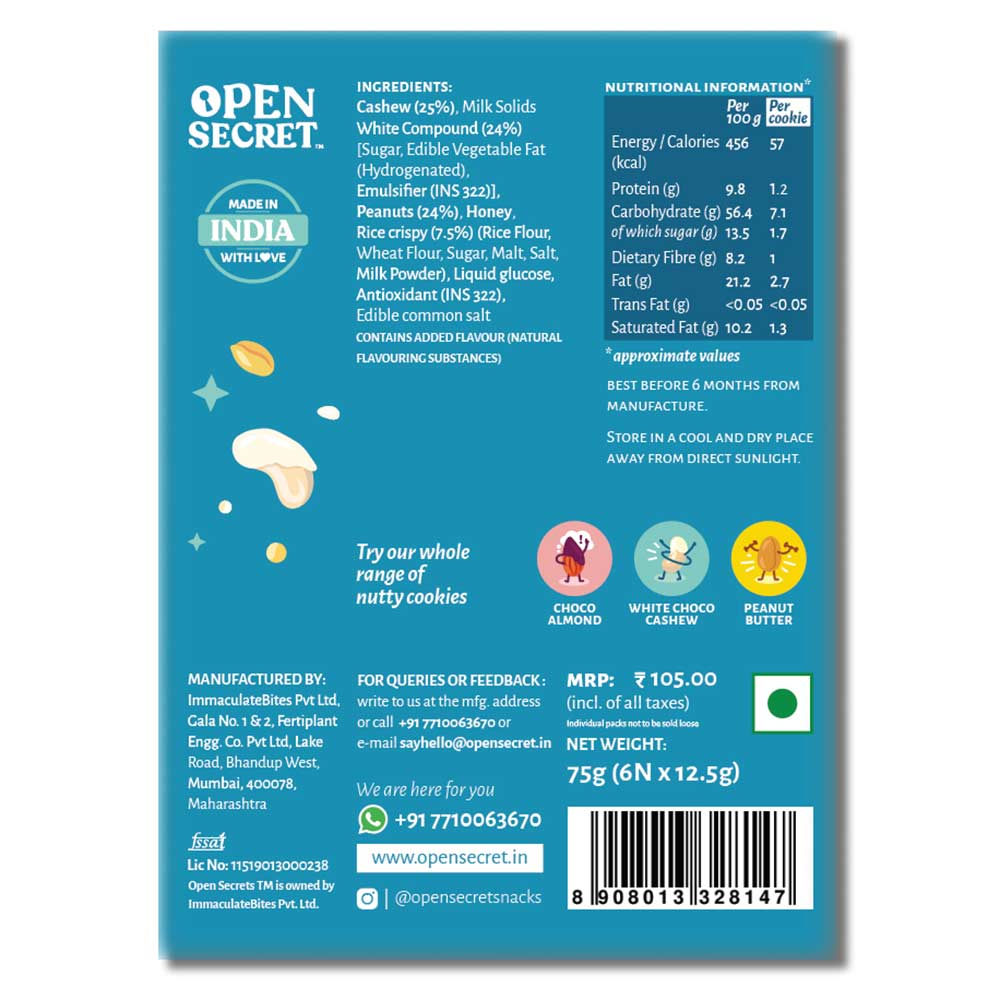 nutritioninfo - Open Secret Nutty Cookies,  6 Cookie(s)/Pack  White Choco Cashew Pack of 3