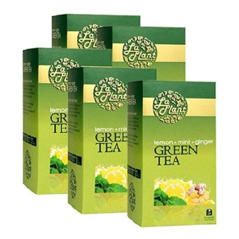 Laplant Green Tea, 25 Piece(s)/Pack Lemon, Mint & Ginger - Pack of 5