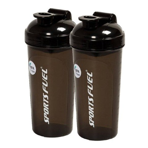 Sports Fuel Protein Shaker Regular, Black 700 ml - Pack of 2
