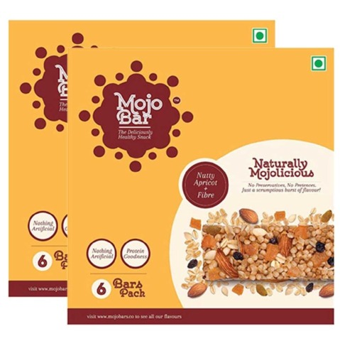MojoBar Healthy Energy Bar - Pack of 2, 6 Piece(s)/Pack Nutty Apricot