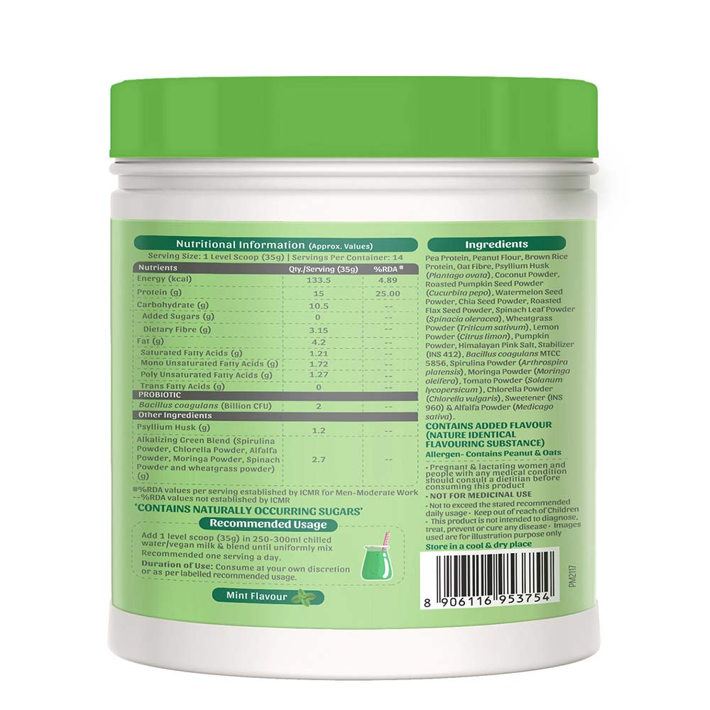 2 - bGREEN Plant Protein Smoothie by MuscleBlaze,  Green Goodness  1.1 lb