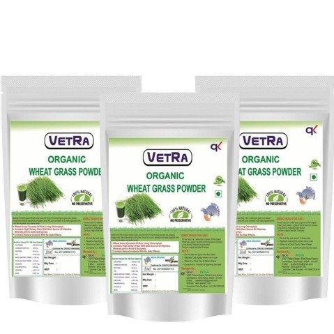 Vetra Organic Wheat Grass Powder (Pack of 3),  100 g
