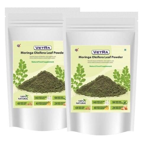 Vetra Moringa Oliefera Leaf Powder (Pack of 2),  500 g