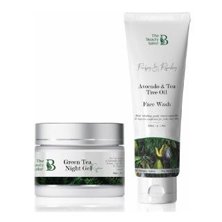 The Beauty Sailor Green Tea Night Gel 50 g & Avocado & Tea Tree Oil Face Wash Combo,  100 ml  Skin Repair