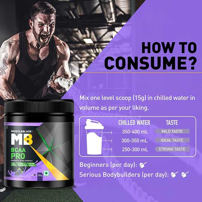 4 - MuscleBlaze BCAA Pro,  0.55 lb  16 Servings  Natural Grape