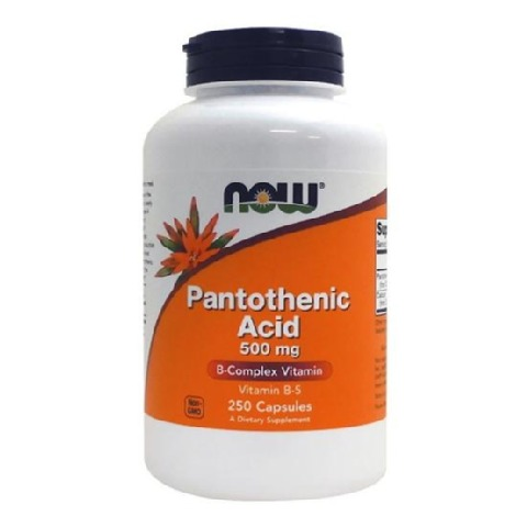 Now Pantothenic Acid (500 mg),  Unflavoured  250 capsules