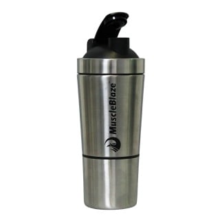 MuscleBlaze Steel Shaker with Compartment,  Silver  750 ml