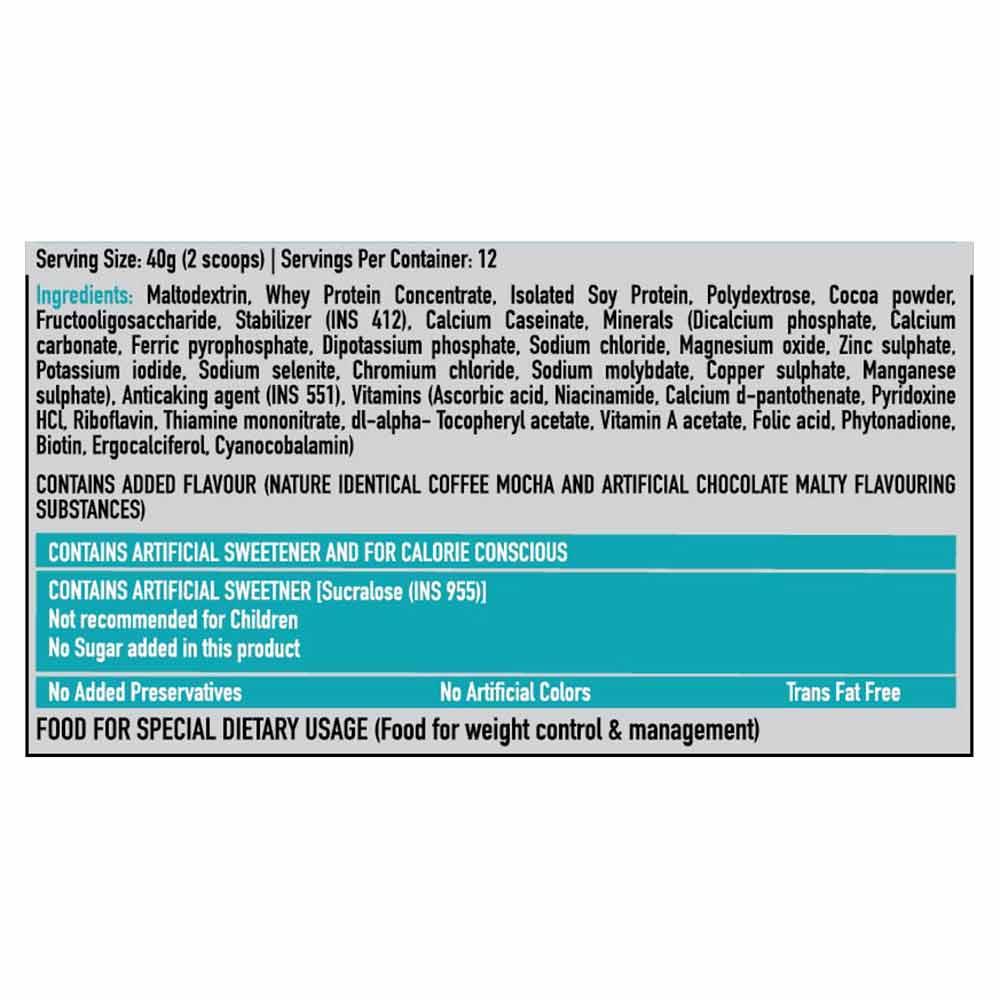 HealthKart SlimShake No Added Sugar, 0.5 kg Cafe Mocha(Ingredient)