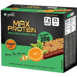 RiteBite Max Protein Meal Replacement Bar,  6 Piece(s)/Pack  Green Tea Orange