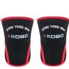 KOBO Weight Lifting Knee Wraps Bandages,  Black & Red  Medium