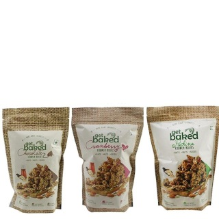 Get Baked Crunch Rocks Combo of 3,  Chocolate Cranberry & Pudina  0.150 kg