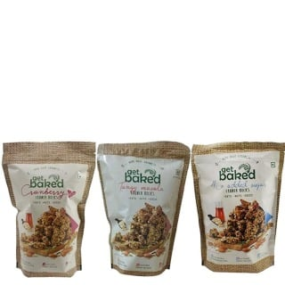 Get Baked Crunch Rocks Combo of 3,  Cranberry No Added Sugar & Tangy Masala  0.150 kg