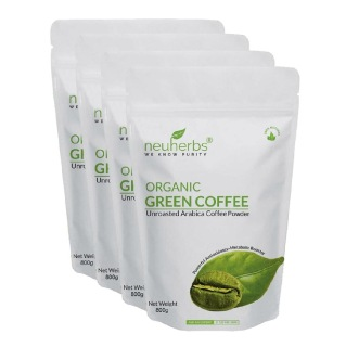 Neuherbs Organic Green Coffee Beans Powder for Weight Loss - Pack of 4,  0.8 kg