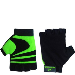 1 - SportSoul Fingerless Cycling & Gym Gloves,  Lime & Black  Xtra Large