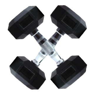 Co-Fit Rubber Hexagon Dumbbells Pair,  Black  6 Kg